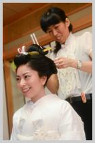 本格日本髪の京風高島田。